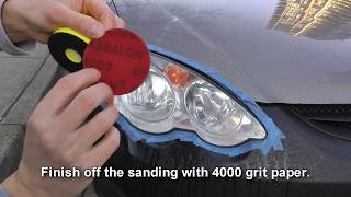 How To Restore / Clean Headlights Using Sandpaper And Polishing Compound.