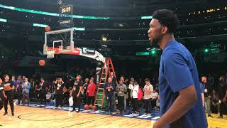 Sixers' Joel Embiid shooting before Rising Stars game