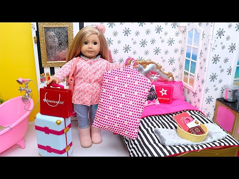 American Girl Unpacking Doll Clothes From Suitcases In Her Hotel Room