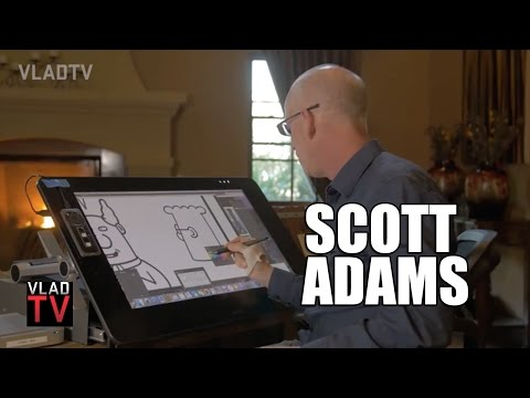 Scott Adams on Huge Dilbert Success, Shows How Dilbert is Drawn