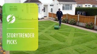 Garden Wizard Mows Amazing Pattern Into Lawn