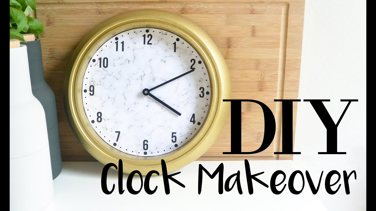DIY Clock Makeover Using IKEA RUSCH Gold with Faux Marble Clock