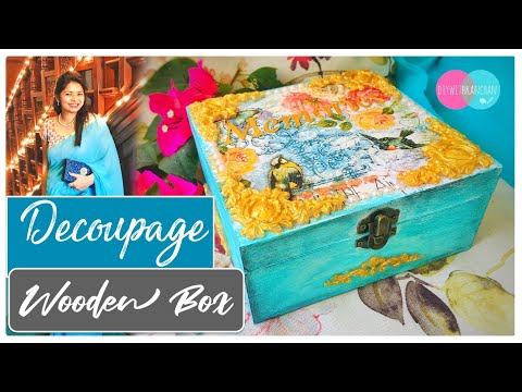 Decoupage Tutorial | Decoupage on Wood /MDF Box | Mix Media | diywithkanchan