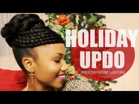 Twisted Bun Holiday Updo On Natural Hair YouTube