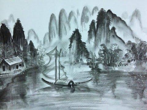 Vẽ tranh thủy mặc bằng than chì và màu nước( Hồ Viết An)/ How to draw ink-painting