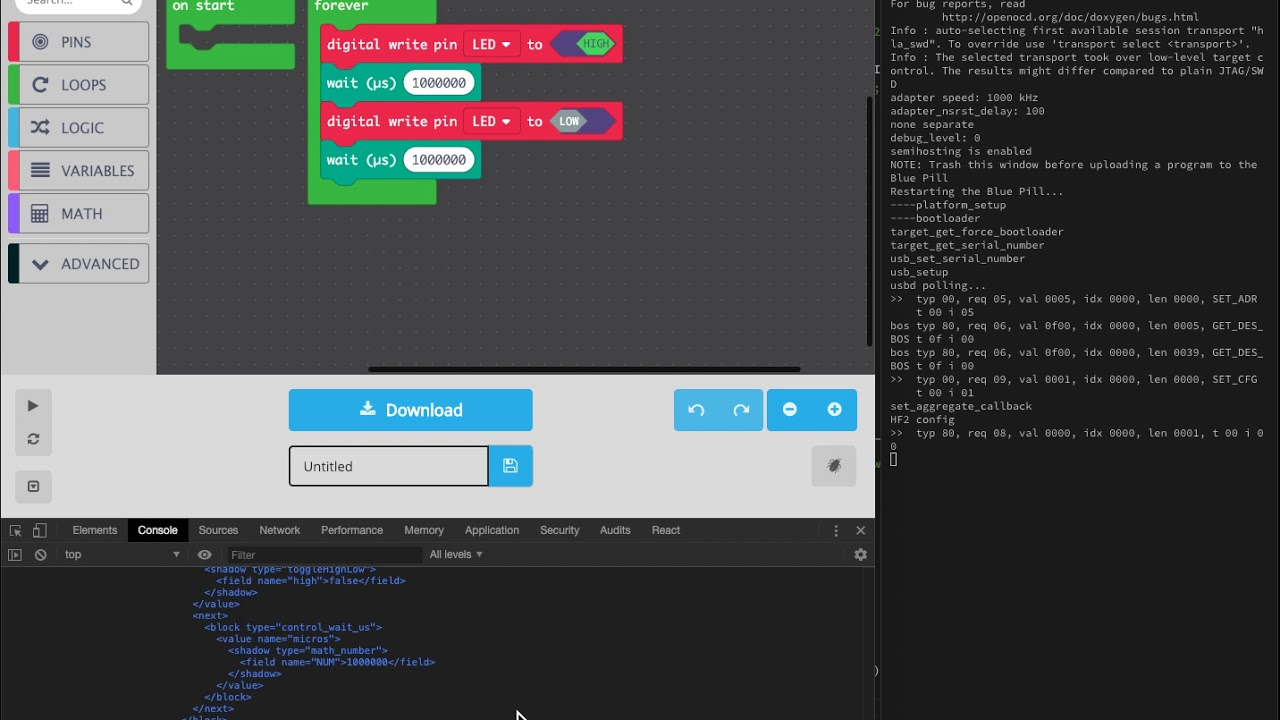Work In Progress] STM32 Blue Pill Visual Programming with MakeCode