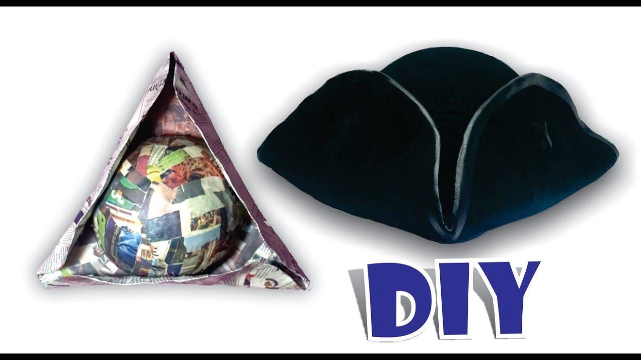 DIY SOMBRERO PIRATA JACK SPARROW - Como hacer sombrero de papel periódico  (reciclaje) paper 0f883fa0509