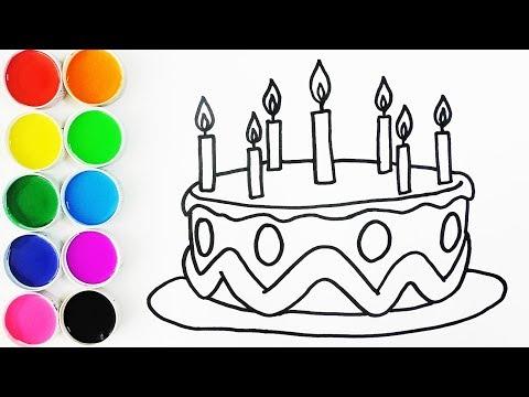 Dibuja y Colorea Torta de Cumpleaños - Draw Birthday Cake - Dibujos ...
