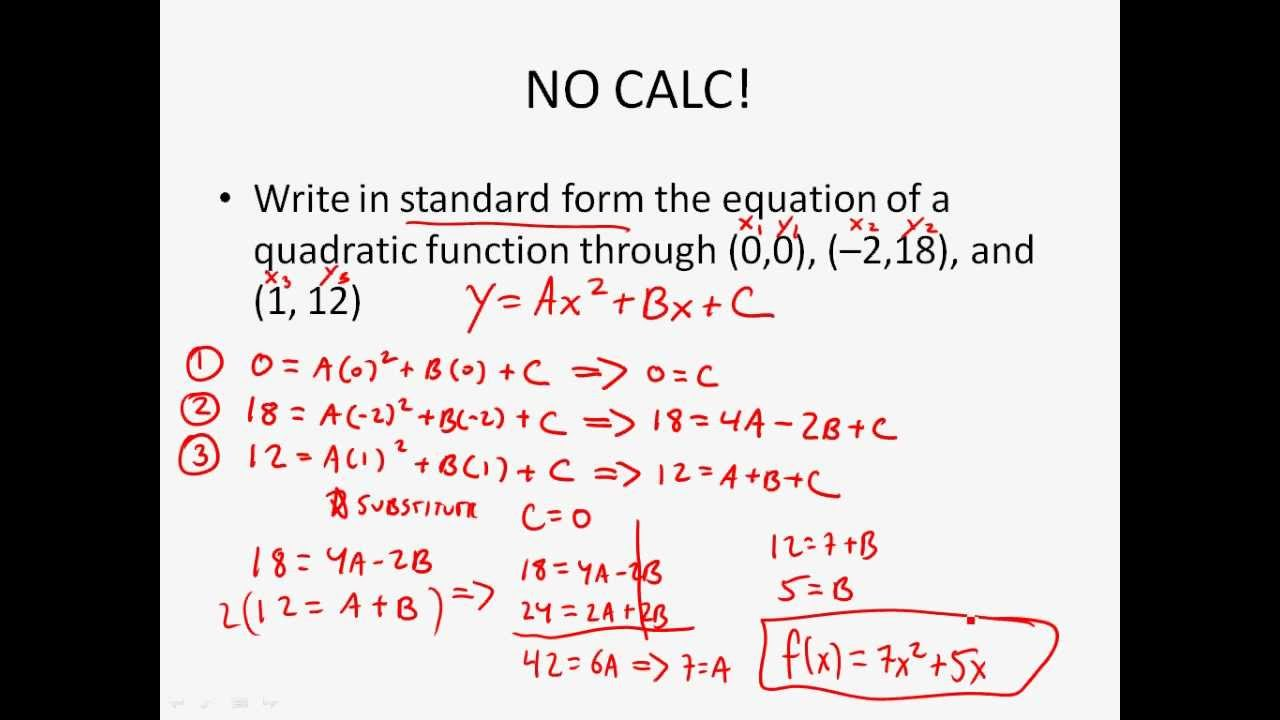 Algebra 2 - Writing Quadratic Functions Given 3 Points - YouTube