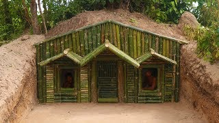 Unbelievable! Build House Under The Wood roots Using Bamboo