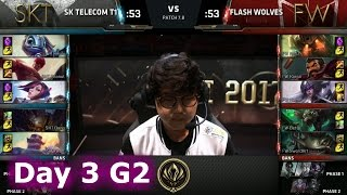 SK Telecom T1 vs Flash Wolves | Day 3 LoL MSI 2017 Group Stage | SKT vs FW Mid Season Invitational