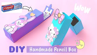 How to make Pencil box from Colgate box | Best out of waste Craft | DIY Pencil Box Craft