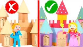 FUNNY KIDS BUILD A COLORFUL CARDBOARD CASTLE ❤ Play Doh Cartoons For Kids