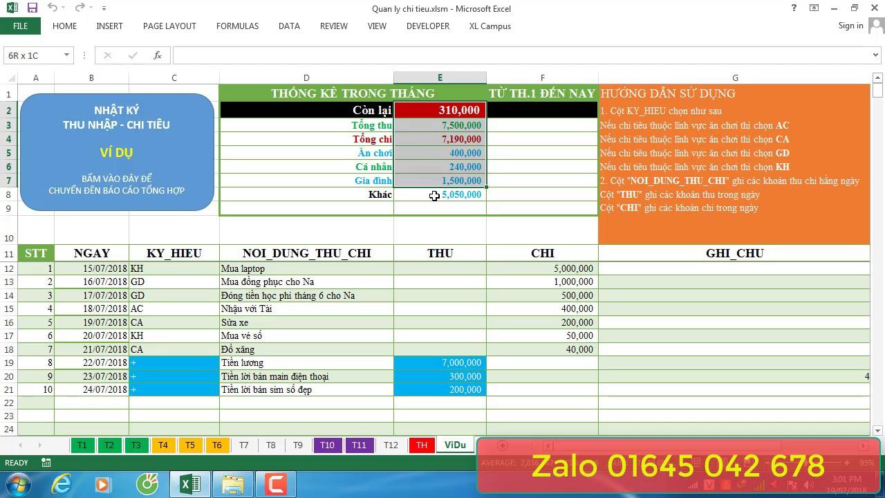 Quản lý chi tiêu trên Excel | Phan Hoài Nam