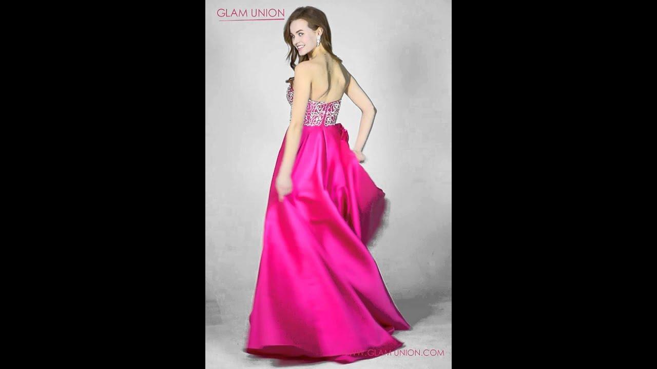 Strapless Fuchsia Pink Long Prom Dress 2016 | Glam Union - YouTube