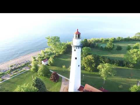 Wind Point Lighthouse   Aerial Views HD