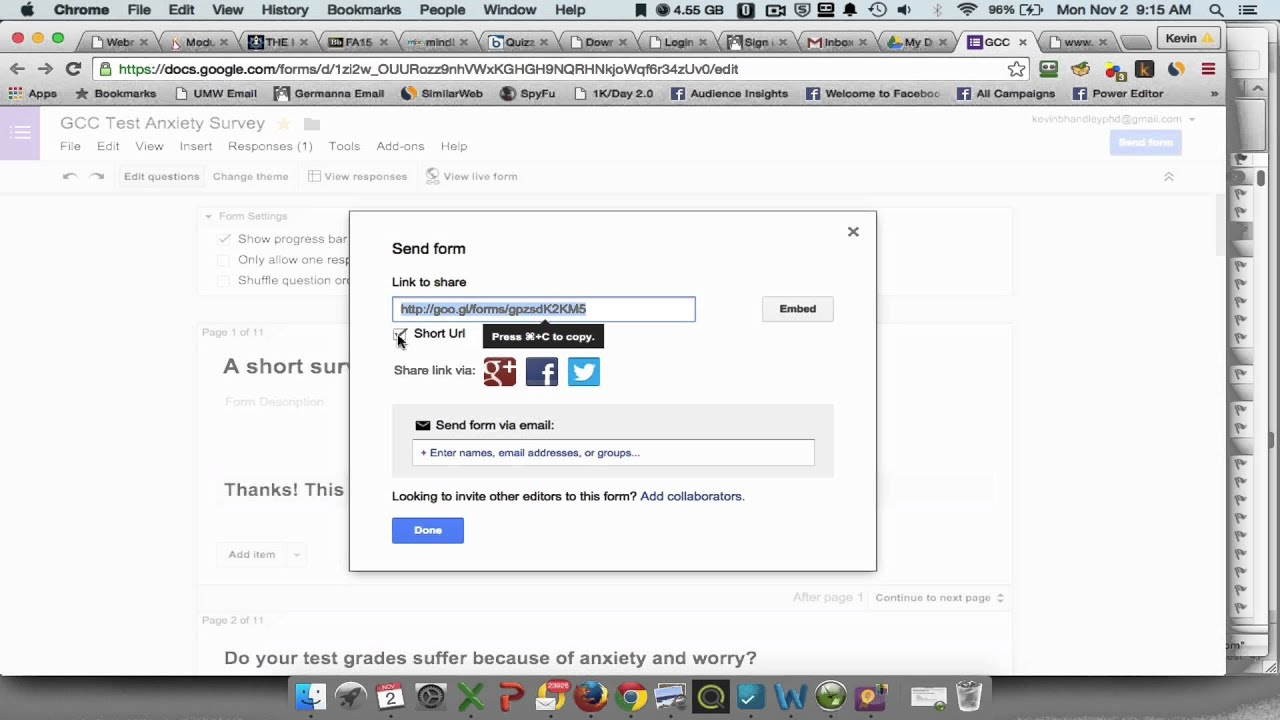 Getting the Link to Send Your Google Forms Survey - YouTube