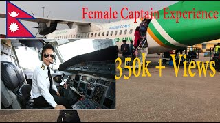 Beautiful Female Captain .Yeti Air ATR72-500  Bhairawha-kathmandu Flight!