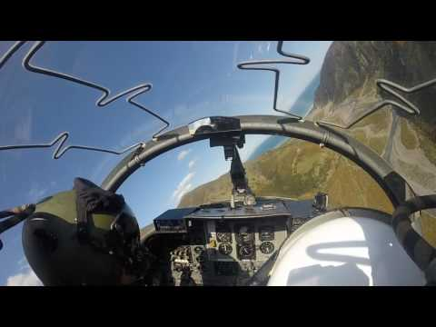 RNZAF Strikemaster jet flight from Wellington airport, New Zealand