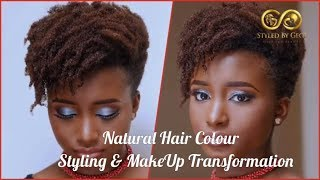 Makeover Alert!!! Colour Change, Updo And Finger Curls Natural Afro Hair MakeUp #naturalhair