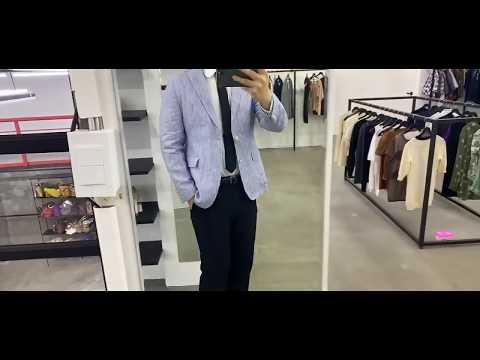 Hugo Boss(휴고보스) 산뜻한 남성용 블루 스트라이프 린넨 자켓 입니다~