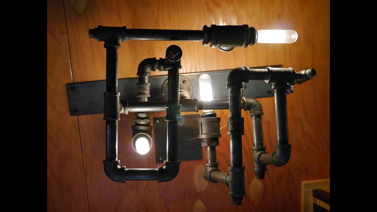 diy pipe lighting. diy steampunkdieselpunk modern lamplight wrecycled pipe fittings youtube diy lighting