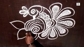 Creative & Simple Kolam / rangoli Design without using Dots    maitrin 2018