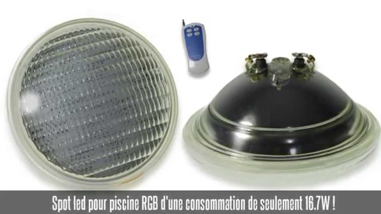 Spot led piscine couleur youtube for Spot de piscine