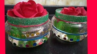 Diwali decoration | pots | craft | light keep decoration | glass pots decoration for Diwali | deepak