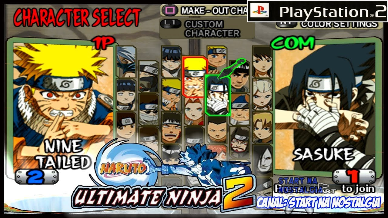 Naruto Ultimate Ninja 2 PS2 LISTA TODOS OS PERSONAGENS E TRANSFORMAES ALL CHARACTERS 1444p