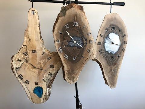 Two Epoxy Resin Wood Wall Clocks