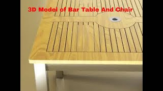 3d Model Of Bar Table And Chair