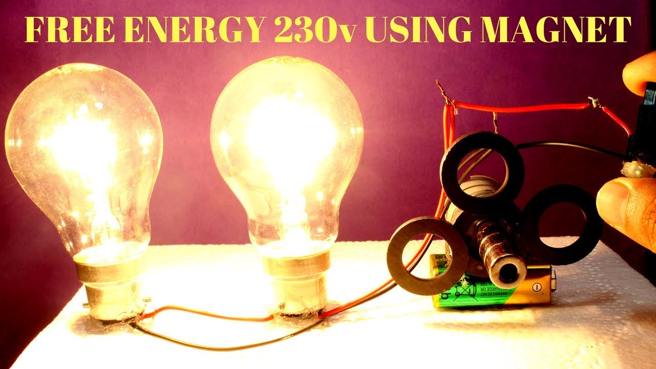 Free Energy Light Bulbs 230v Using Magnet And Two Bulbs