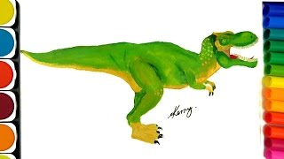 How to Draw Dinosaurs, Coloring pages, Teach Drawing and Coloring, Learning Colors for Kids
