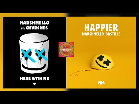 Marshmello - Happier / Here With Me (feat. CHVRCHES & Bastille) [Lyrisc Video] (Mashup)