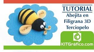 Tutorial abeja en filigrana 3d con textura de terciopelo - Paper Quilling