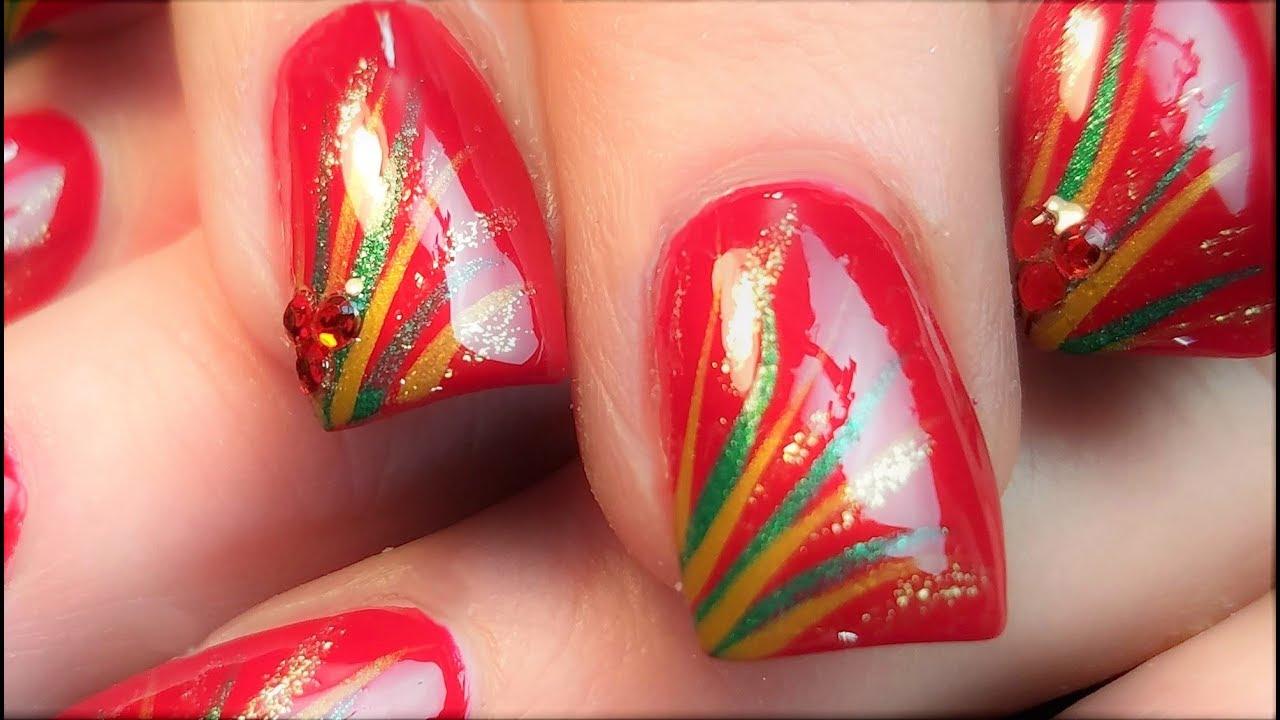 Christmas Nails Made Easy   Elegant Striped Xmas Nail Art Design ...