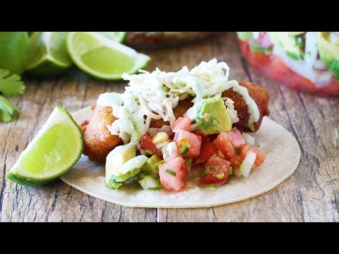 How To Make Battered Cod Fish Tacos With Jalapeno Crema