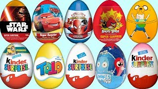 10 Kinder Toto Emoji Minions Star Wars Cars Spider Man Angry Birds Surprise Eggs