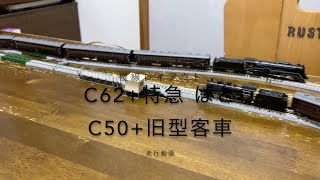 Nゲージ C62東海道形+特急はと&C50+旧型客車走行動画