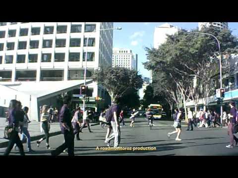 Idiot cyclist vs pedestrian - Adelaide street Brisbane 140912
