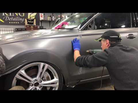 оклейка кузова в серый мат, оклейка в защитную пленку, детейлинг Audi A6