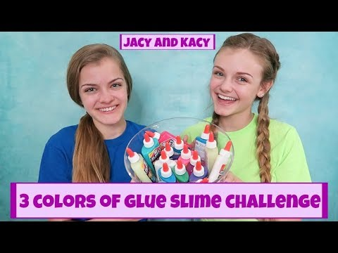 3 Colors of Glue Slime Challenge ~ Jacy and Kacy