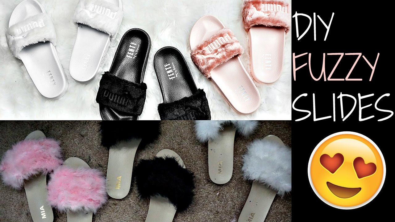 super popular f902f 1da07 DIY Fuzzy Slippers | Rihanna FENTY SLIDES