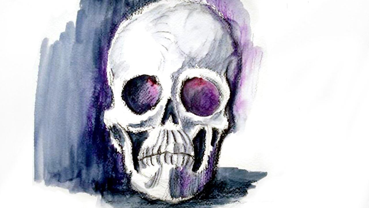 Comment dessiner un cr ne une t te de mort r aliste l 39 aquarelle youtube - Tete de monstre a dessiner ...