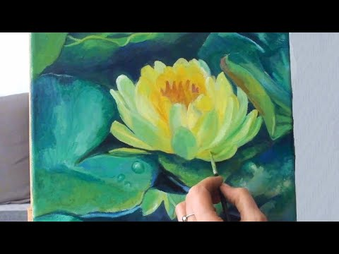 Speed Painting   Flower Painting  Water Lily  Seerose Oil Colors