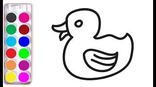 How to Draw Rubber Duck for kids. Drawings and Coloring book. Learning Colors for baby
