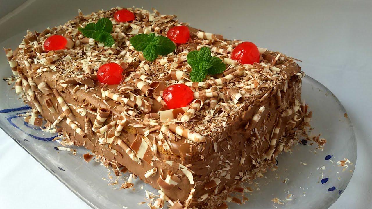 Tarta de galletas con chocolate (tarta sin horno) - YouTube