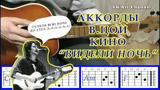 Видели ночь Аккорды на гитаре группа Кино Виктор Цой Разбор песни бой текст