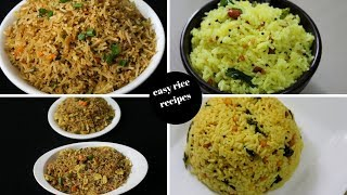 4 instant rice recipes - lunch box recipes and ideas - 4 easy rice recipes - Yummy Indian Kitchen